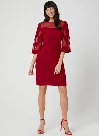 Crystal Detail Illusion Neck Dress, Red, hi-res,  rhinestone detail cocktail dress, mesh dress