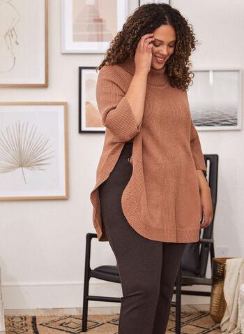 Pull poncho en tricot côtelé , Beige,  haut, tricot, chandail, pull, poncho, manches 3/4, automne hiver 2020, col roulé