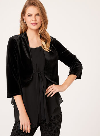 Bell Sleeve Velvet Jacket, Black, hi-res