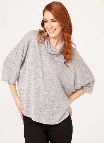 Loose Heather Knit Sweater , Silver, hi-res