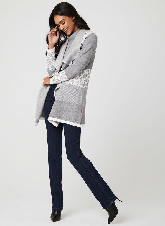 Cardigan ouvert en tricot à motifs, Gris, hi-res