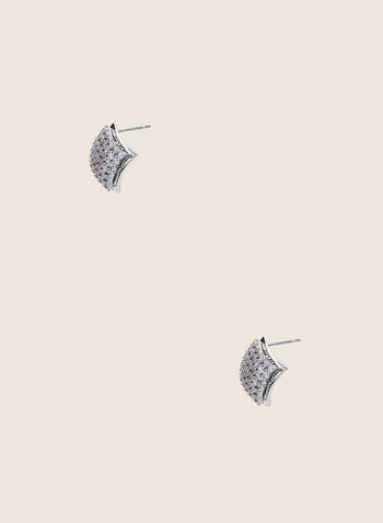 Diamond Shape Stud Earrings, Silver,  earrings, studs, crystals, metallic, diamond, spring summer 2020