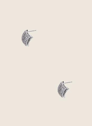Clous d'oreilles diamants à cristaux, Argent,  clous d'oreilles, diamant, cristaux, métal, printemps été 2020