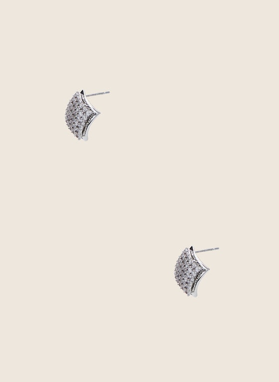 Diamond Shape Stud Earrings, Silver