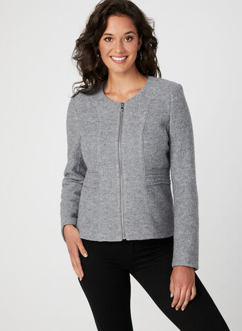 Wool Blend Cropped Jacket, Grey, hi-res