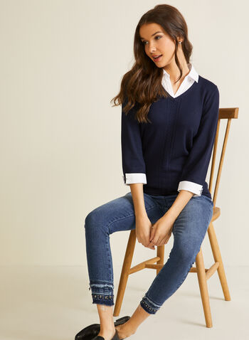 Fooler-Style Shirt Collar Sweater, Blue,  fall winter 2020, sweater, shirt, fooler-style, knit, 3/4 sleeves, shirt collar