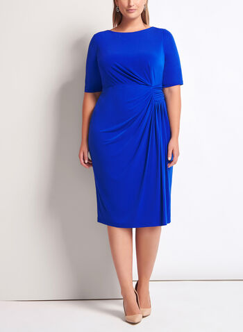 Elbow Sleeve Ruched Jersey Dress, , hi-res