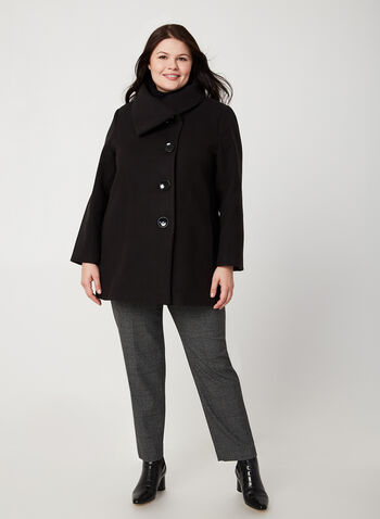 Oversized Collar Wool-Like Coat, Black, hi-res,  fall winter 2019, faux wool, buttons, long sleeves