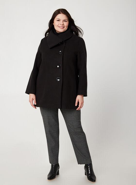 Manteau aspect laine, Noir, hi-res
