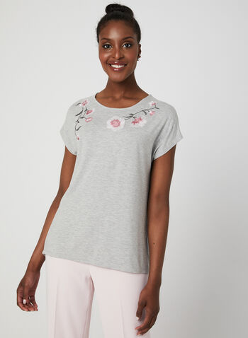 Floral Embroidered T-Shirt, Grey,  Spring 2019, jersey, t-shirt, short sleeves, embroidery