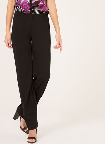 Wide Leg Crepe Pants , Black, hi-res