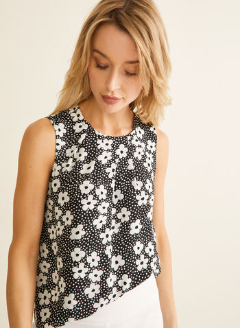 Dotted Floral Print Sleeveless Blouse, Black,  blouse, top, crepe, floral, dotted, pleated, sleeveless, spring summer 2020