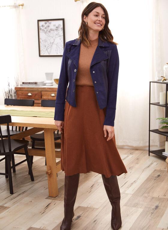 Faux Suede Midi Skirt, Beige
