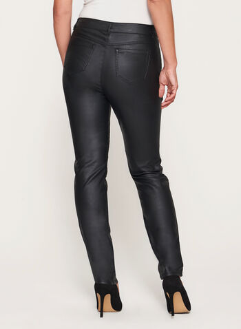 Modern Fit Slim Leg Faux Leather Pants, Black, hi-res