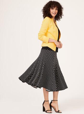 Polka Dot Print Flared Pull-On Skirt, Black, hi-res