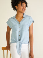Knot Detail Tencel Blouse, Blue