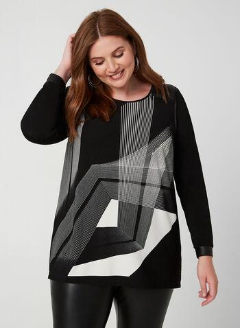Tunique géométrique à détails similicuir, Noir, hi-res,  tunique, manches longues, géométrique, similicuir, jersey, zip, automne hiver 2019