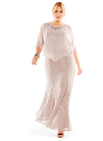 Sequin & Lace Poncho Gown, , hi-res