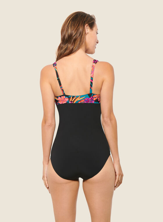 Christina - Tropical Print One-Piece Swimsuit, Black