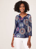 Medallion Print Jersey Top, Blue, hi-res