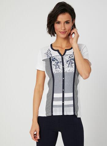 T-shirt en coton à motifs fantaisie, Blanc, hi-res,  t-shirt, manches courtes, fantaisie, faux boutons, broderie anglaise, coton, printemps été 2019
