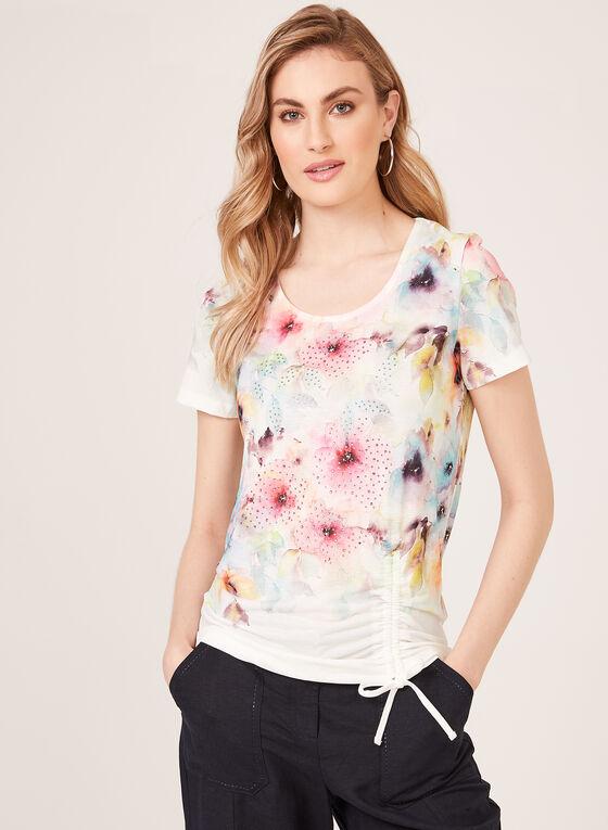 T-shirt fleuri à manches courtes et strass, Bleu, hi-res
