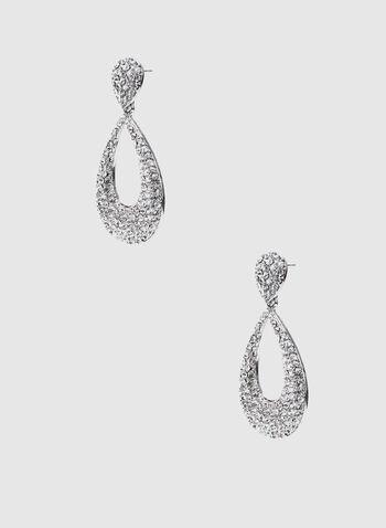 Boucles d'oreilles à goutte en cristaux, Argent,  boucles d'oreilles, goutte, cristaux, automne hiver 2019