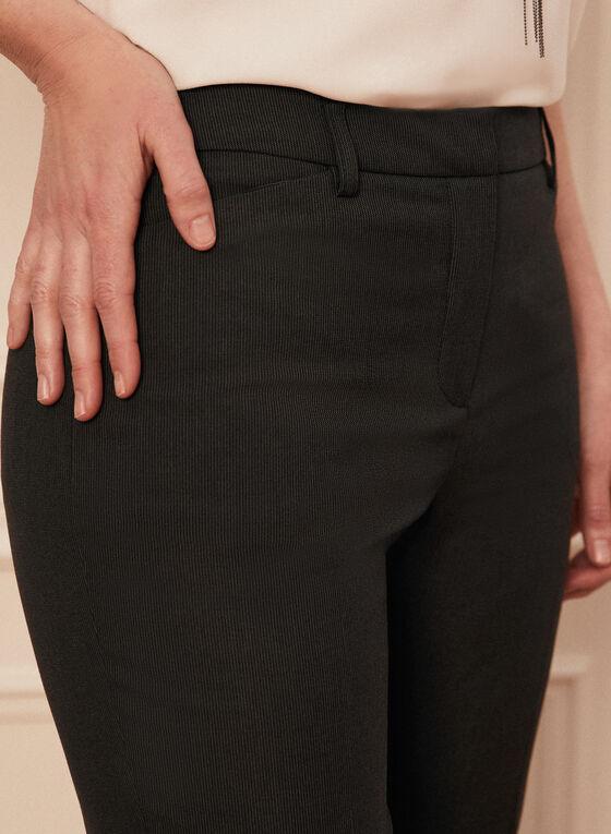 Pinstripe Print Straight Leg Pants, Black