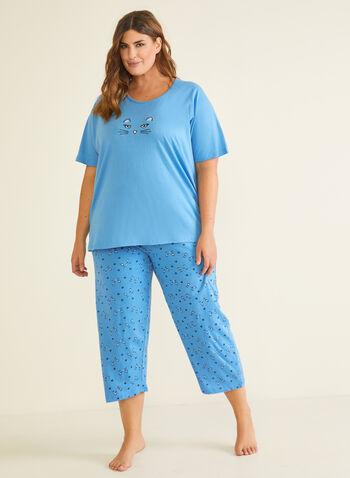 2-Piece Printed Pyjama Set, Blue,  pyjama, set, 2-piece, cat, capris, fall winter 2020
