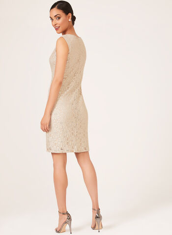 Two Piece Glitter Lace Dress, Off White, hi-res