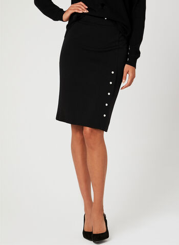 Pearl Trim Pencil Skirt, Black, hi-res