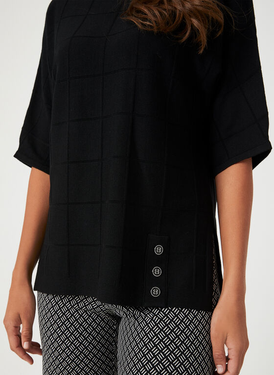 Windowpane Elbow Sleeve Top, Black