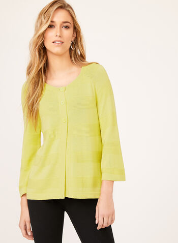 ¾ Sleeve Knit Cardigan, Green, hi-res
