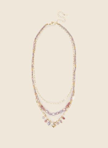 Collier étagé à  maillons et billes , Violet,  bijoux, collier, billes, chaîne, pierres, métallique, doré, étage, printemps été 2021