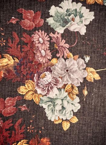 Floral Print Lightweight Scarf, Black,  fall winter 2021, accessories, scarves, light scarves, lightweight, rectangular, scarf, fringed, frayed, floral print, wild flower