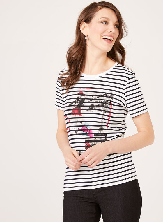 Striped Urban Lifestyle Print T-Shirt, White, hi-res