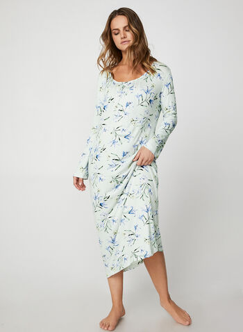 Bellina - Maxi Floral Print Nightgown, Off White,  nightgown, printed nightgown, flowers, floral print, print, comfortable, gift, pyjama, fall 2019, winter 2019