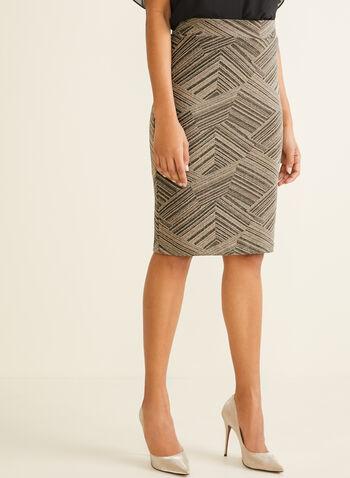 Jupe ajustée métallisée, Blanc,  métallique, brillant, jupe crayon, jupe droite, automne hiver 2019, taille pull-on, à enfiler, taille élastique