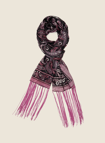 Paisley Print Fringe Scarf, Purple,  fall winter 2020, scarf, paisley, print, light, fringe, fringed