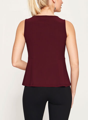 Peplum Detail Tuck Neck Blouse, Red, hi-res
