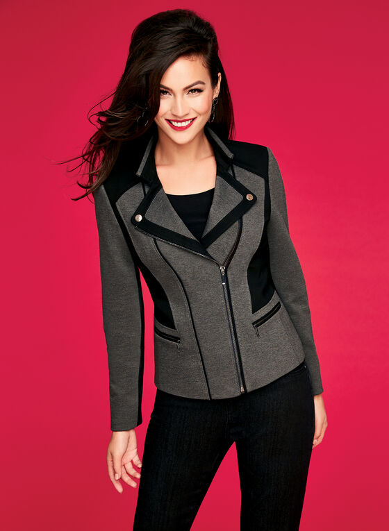 Colour Block Ponte Jacket, Grey, hi-res