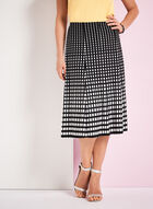 Graphic Print A-Line Midi Skirt, Black, hi-res