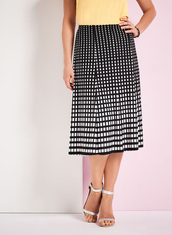 Graphic Print A-Line Midi Skirt, Black, hi-res