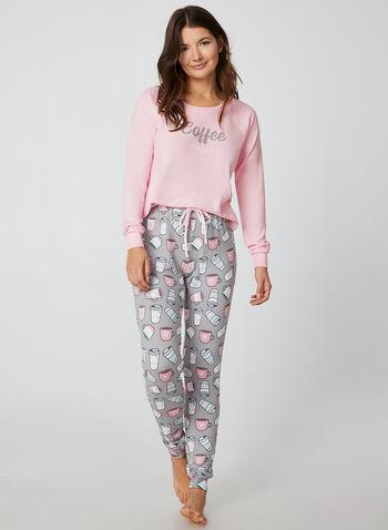 René Rofé - Two Piece Pyjama Set, Pink, hi-res,  René Rofé, sleepwear, pyjama, coffee fall 2019, winter 2019