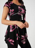 Tunique fleurie à ourlet en pointe, Noir, hi-res