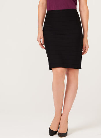 Ottoman Pencil Skirt, Black, hi-res