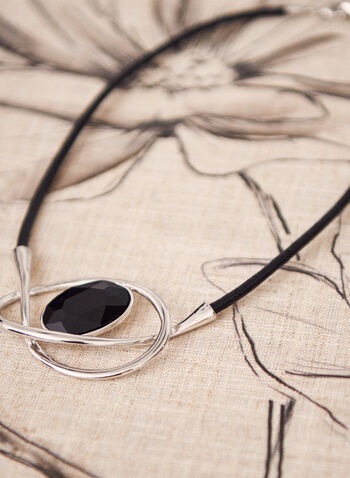Faceted Oval Stone Necklace, Black,  necklace, cord, stone, oval, faceted, metallic, spring summer 2021