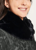 Novelti - Camo Print Faux Fur Trim Coat, Grey, hi-res