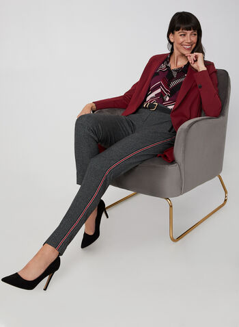 Houndstooth Print Contrast Trim Pants, Black, hi-res,  straight leg, modern hit, mid rise, stripes, fall 2019, winter 2019