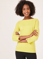 Ottoman Knit ¾ Sleeve Sweater, Green, hi-res